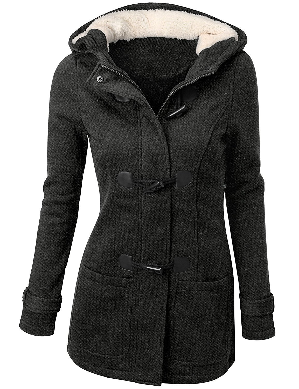 Choies Women's Dark Gray Reversible Faux Fur Winter Cardigan Hooded Coat M