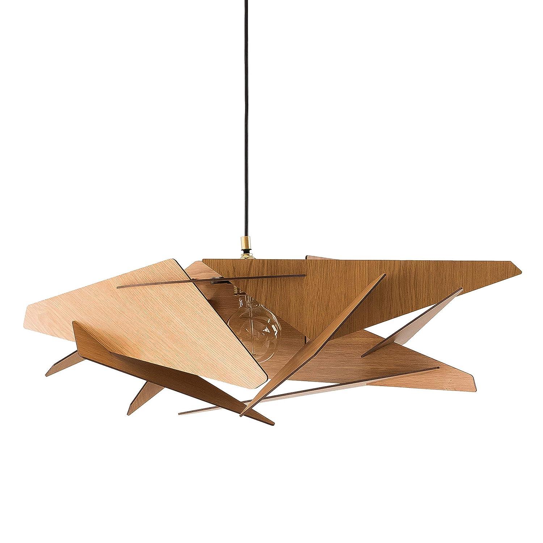 Dezaart Wood Pendant Light, Modern Contemporary Lighting Fixture, 1-Light Geometric Lasercut Interior Style Lampshade, Industrial DIY Handmade Chandelier for Bathroom, Living Room, Bedroom