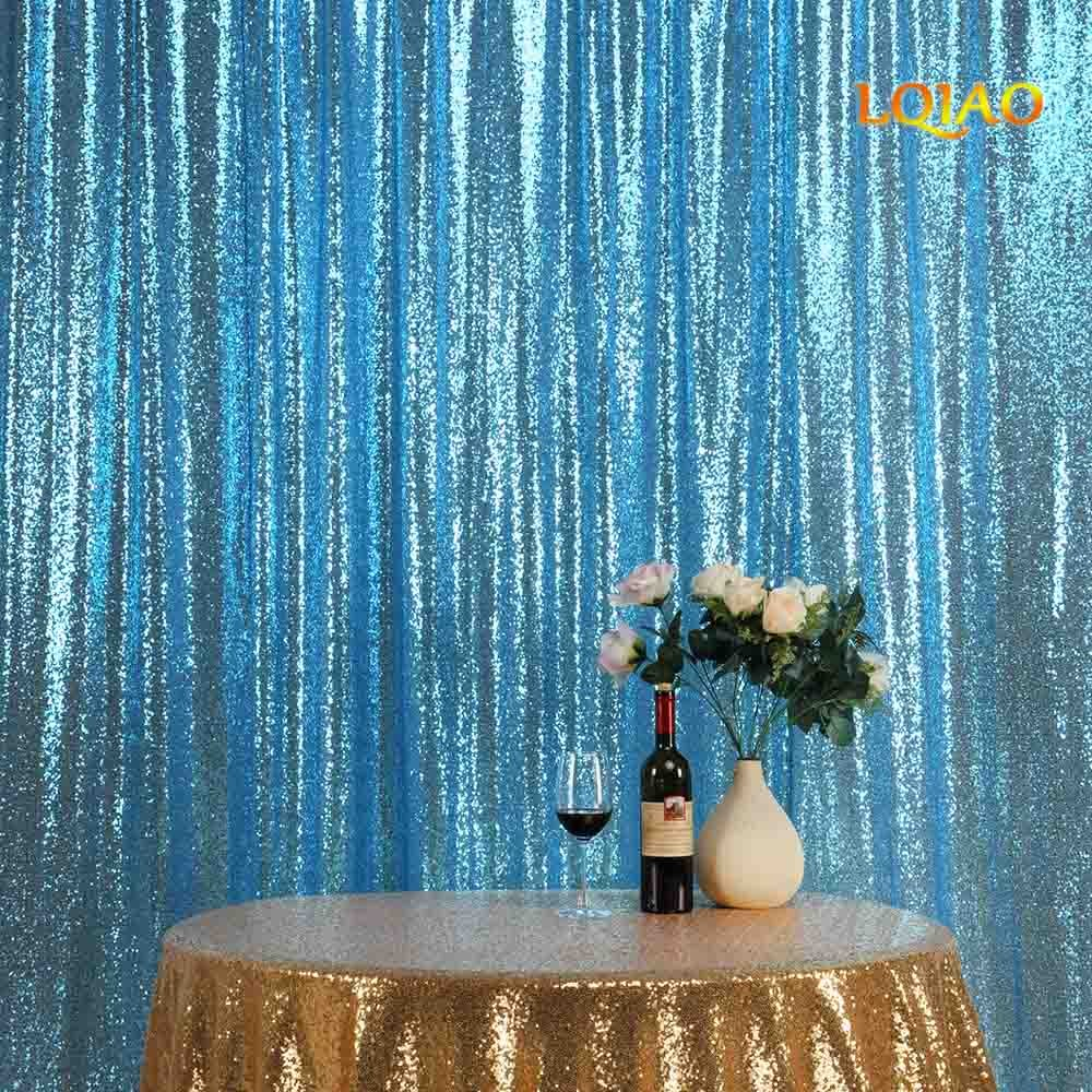 LQIAO Sequin Curtain 10X8FT-Turquoise Sequin Backdrop Wedding Photo Booth Door Window Curtain for Halloween Party Wedding Decoration
