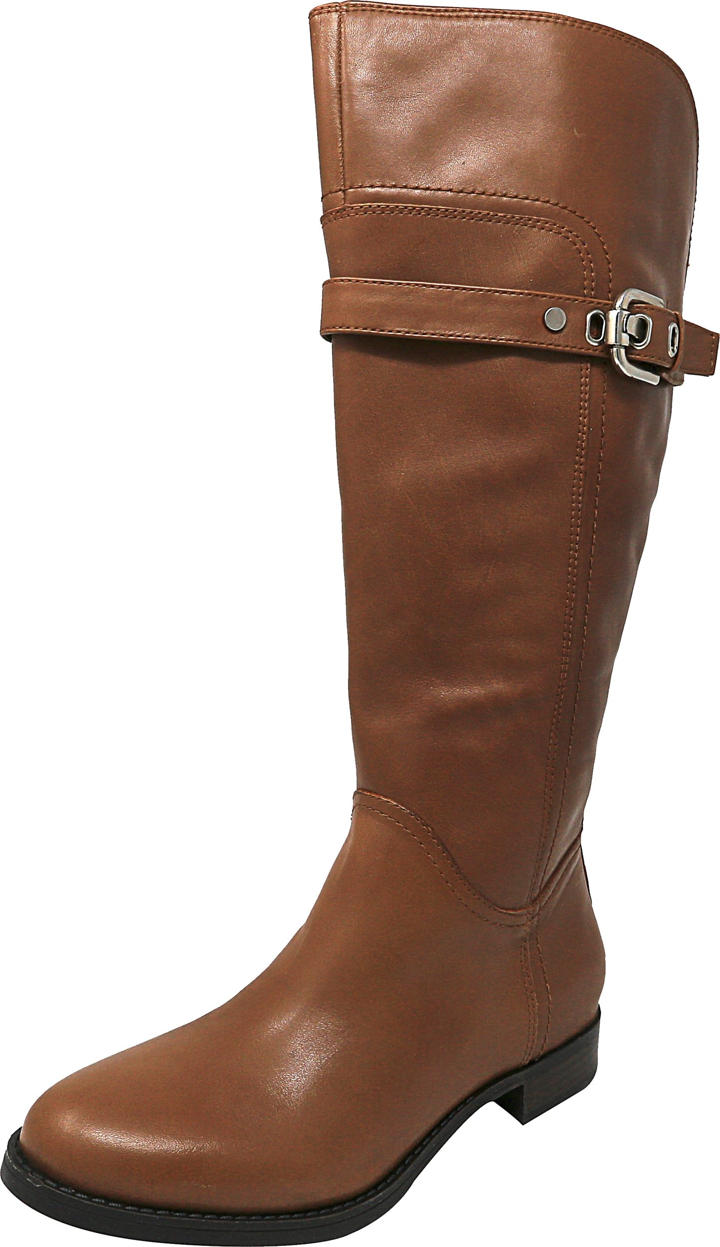 Marc Fisher Women's taite Wide Calf Leather Medium Brown Knee-High Leather Equestrian Boot - 6M