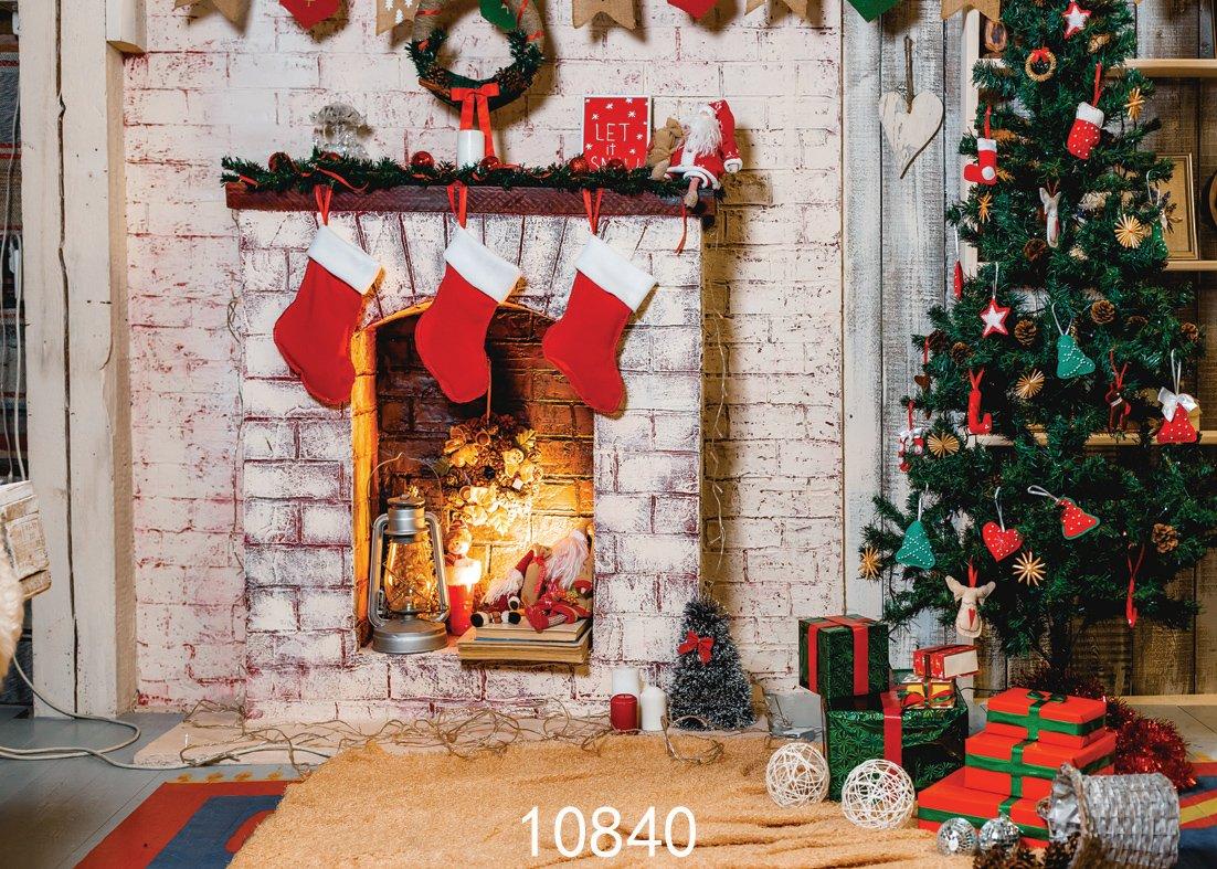 sjoloon 7 x 5ftクリスマスツリーBackdrop写真レンガホワイト暖炉の新生児クリスマスフォトスタジオ背景10840   B075VR6VX7