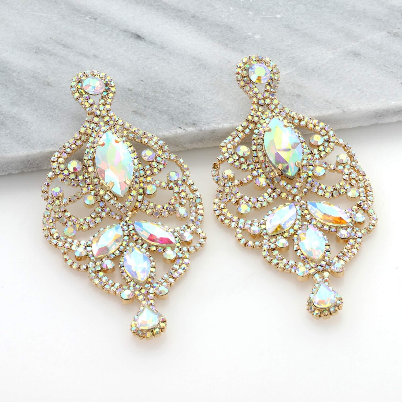 Womens Large Filigree Austrian Crystal Dangle Stud Post Earrings Glamorous Chandelier Halo Teardrop Earrings