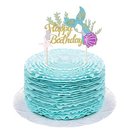 Decoración para tarta con purpurina dorada para cumpleaños ...