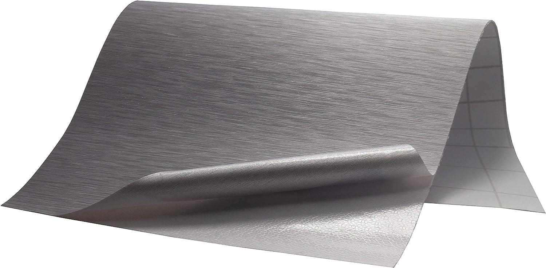 17,17€/m² Folie Edelstahl gebürstet - SILBER - 17 x 1172 cm blasenfrei  selbstklebend flexibel Dekor Folie Auto Küche Klebefolie Schutzfolie
