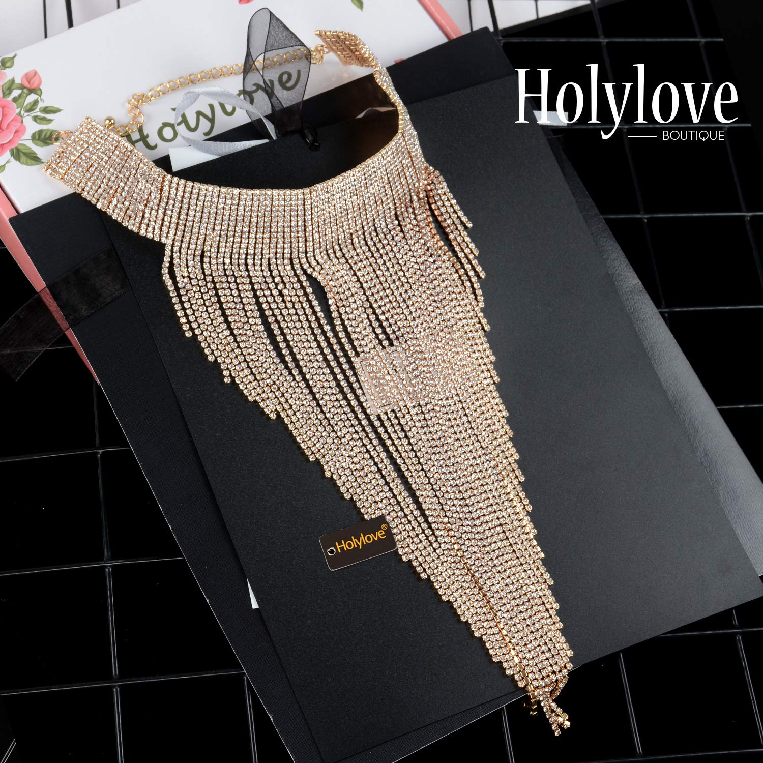 Holylove 2 Colors Tassel Collar Statement Necklace for Women Novelty Fashion Jewelry 1 Set with Gift Box (Gold-23) by Holylove (Image #6)