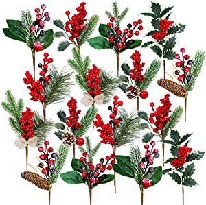 16 Pack Artificial Christmas Picks Assorted Red Berry Picks Stems Faux Pine Picks Spray with Pinecones Apples Holly Leaves for Christmas Floral Arrangement Wreath Winter Holiday Season Décor