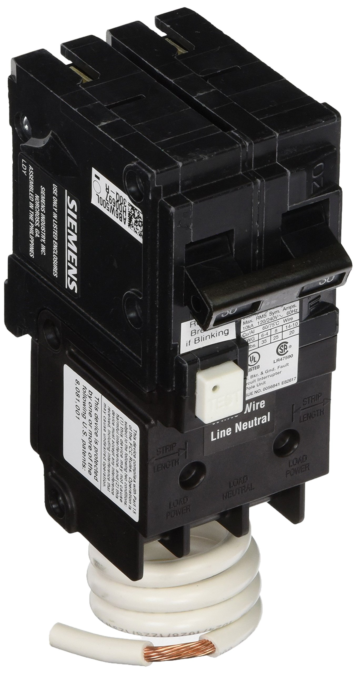 Siemens QF230A Ground Fault Circuit Interrupter, 30 Amp, 2 Pole, 120V, 10,000 Aic,