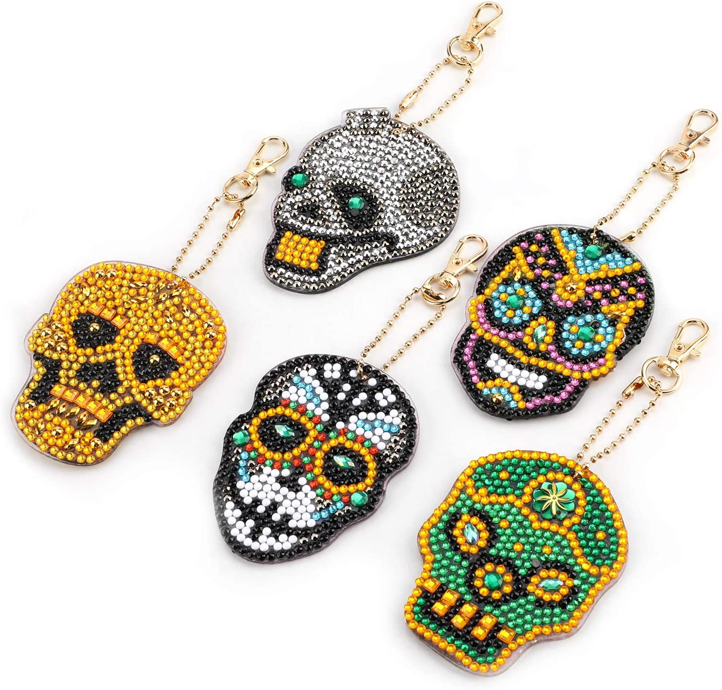 MWOOT 5 Piezas DIY Cráneo Llavero Pintura Diamantes,5D Diamond Painting Keychain Colgante Punto de Cruz Diamante Adorno Con Cristales de Imitación de Diamante