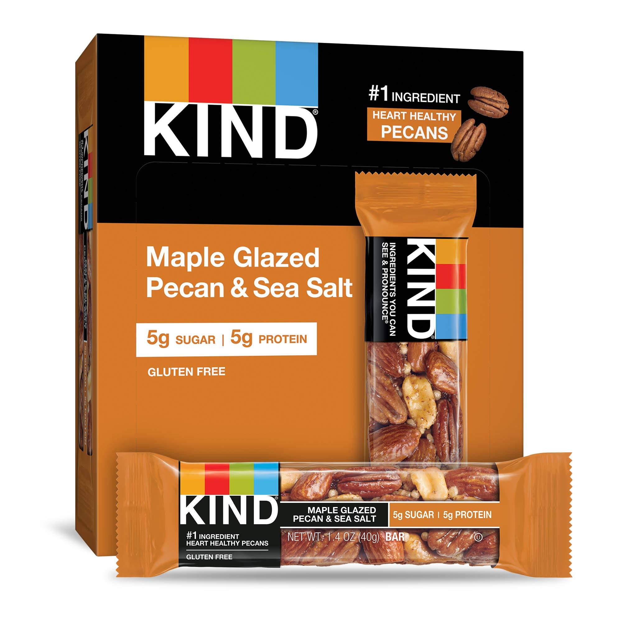 KIND Bars, Maple Glazed Pecan & Sea Salt, Gluten Free, Low Sugar, 48 Count by KIND