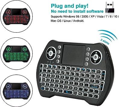 Rii i8 Mini Teclado Inalámbrico con Touchpad 2.4GHz Teclado 8 Retroiluminado y Smart TV Keyboard Remote Control, HTPC, IPTV, Android TV Box, Xbox 360, PS3, PC: Amazon.es: Electrónica