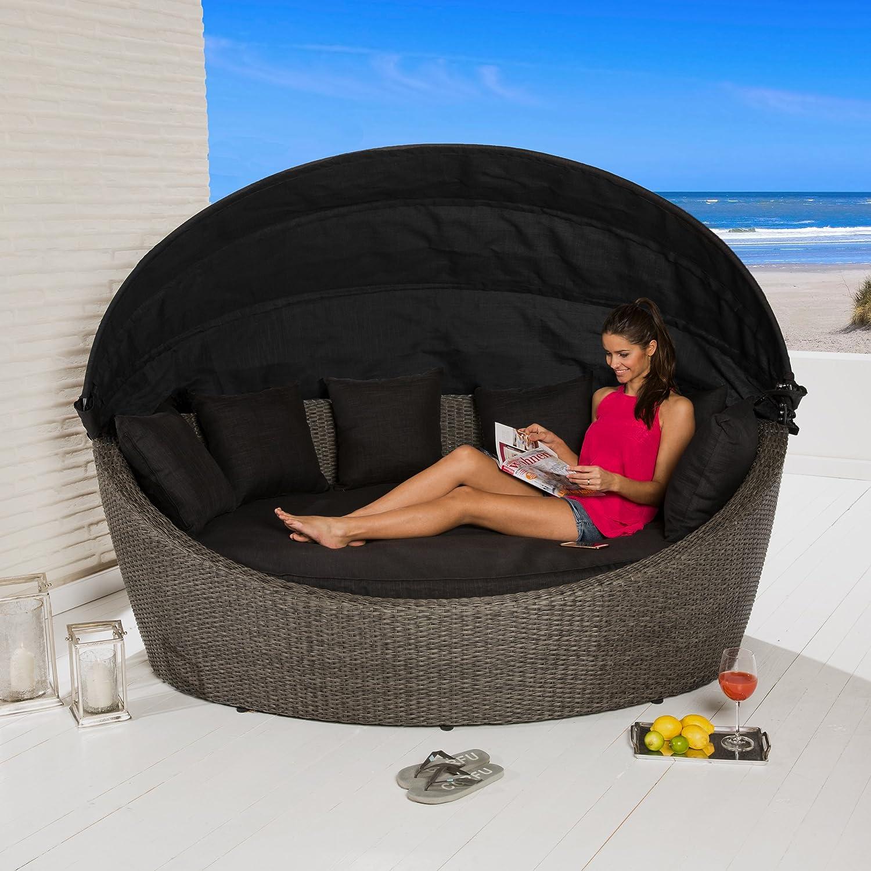 POLY RATTAN Sonneninsel Strandmuschel Strandkorb grau 220x160x155cm Gartenmöbel