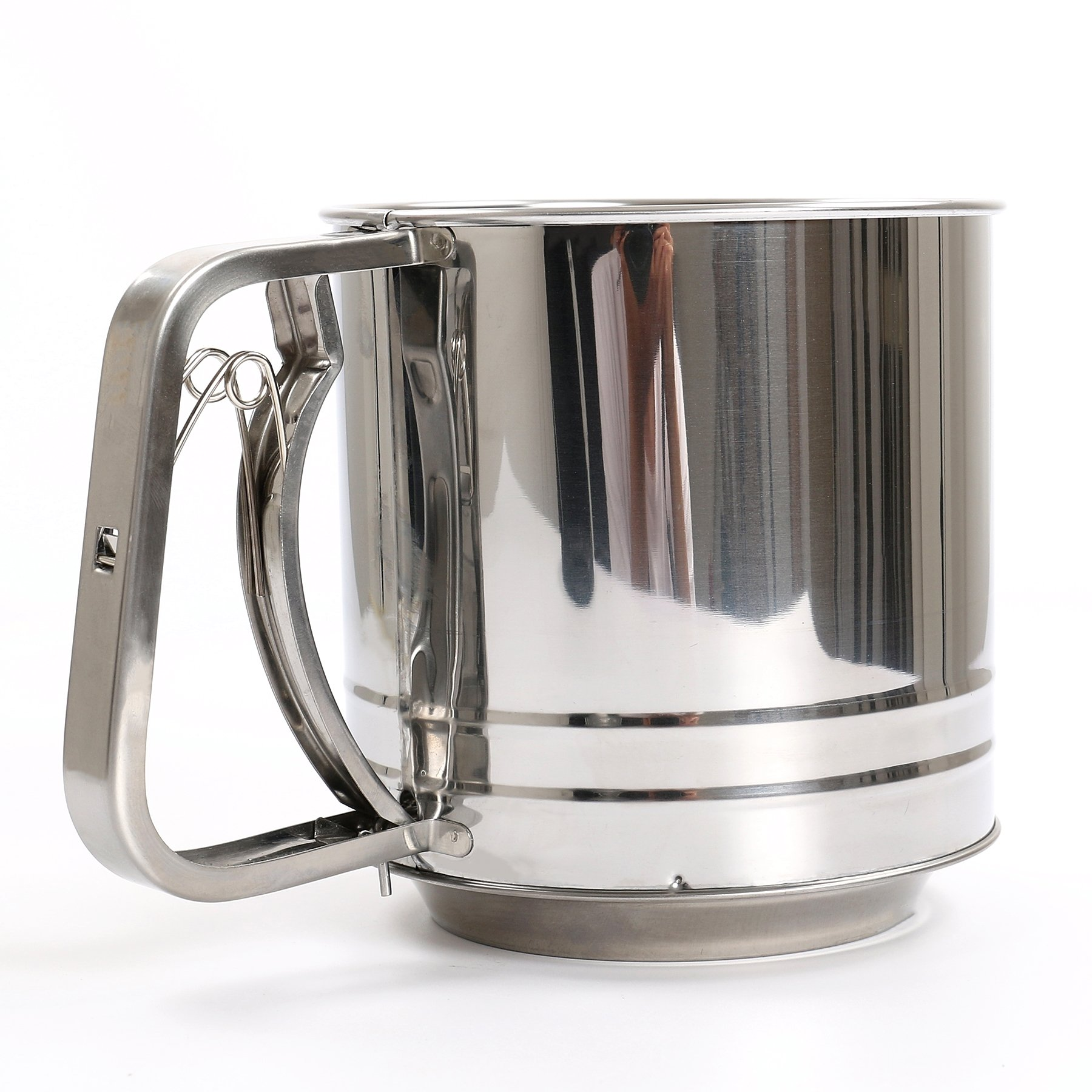 Flour Sifter, NPYPQ Stainless Steel Flour Sieve Sifters Mesh Cup - One Hand Crank - Very Fine - Large