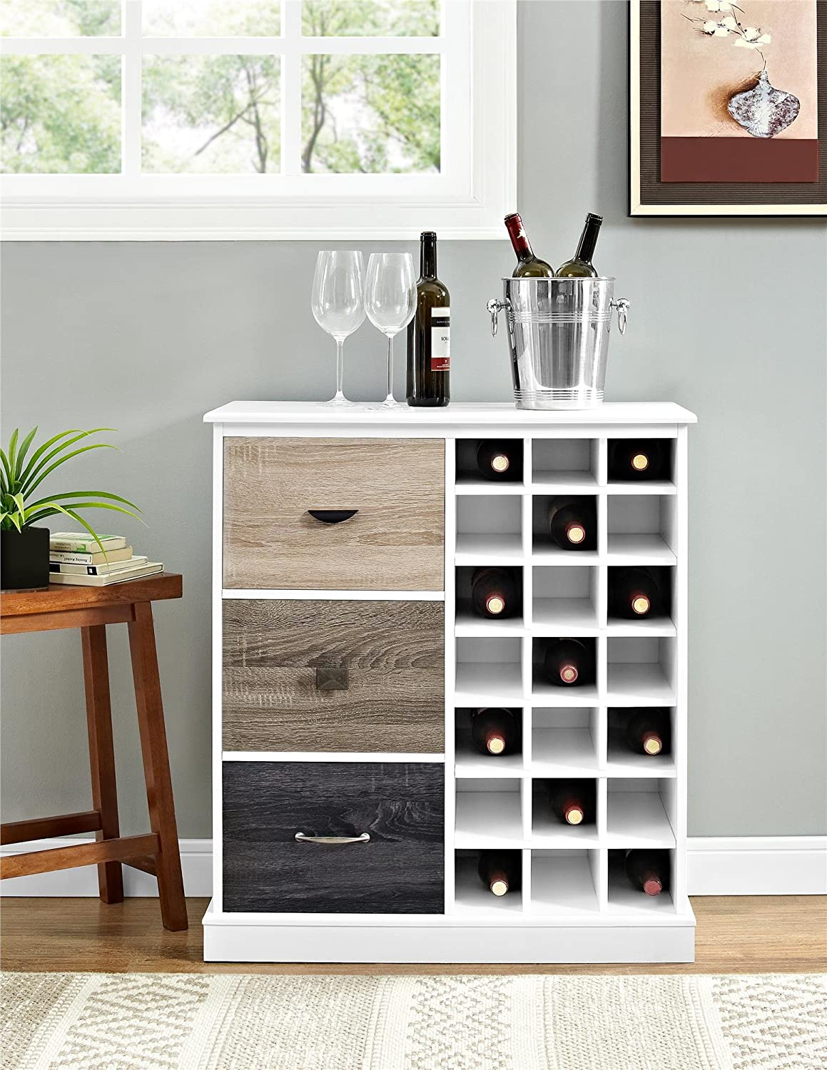 Amazon.com: Ameriwood Home Mercer Wine Cabinet with Multicolored ...
