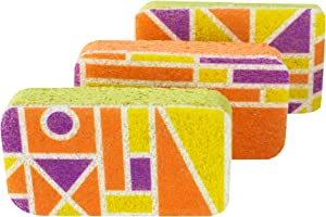 Casabella Cellulose Scrub Sponges, Plum, Lime and Orange Print , 3-Pack