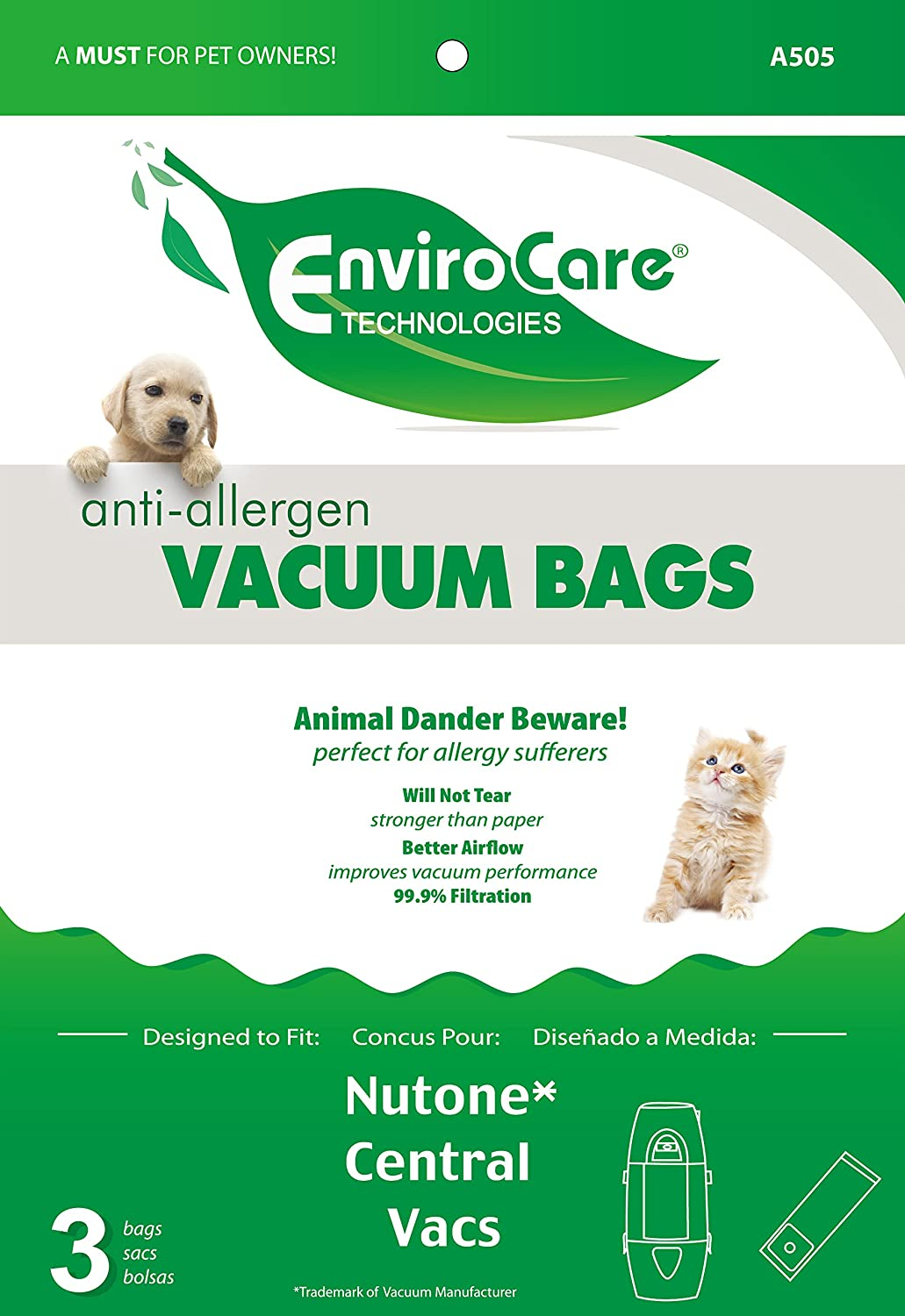 EnviroCare Replacement Allergen Vacuum bags for Nutone Central Vacuums 3 Pack