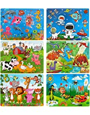Dreampark Puzzles for Kids & Toddlers Ages 2-8, [6 Pack] Wooden Jigsaw Puzzles 60 Pieces Preschool Educational Learning Toys Set for Boys and Girls
