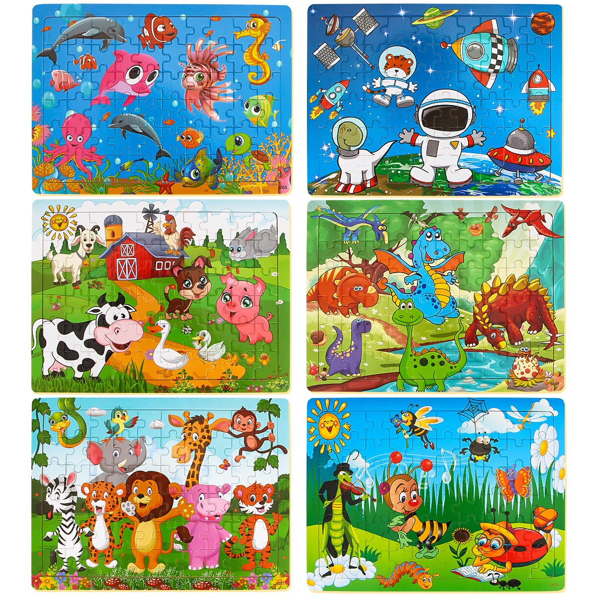 Dreampark Puzzles for Kids Ages 3-8, 6 Pack Wooden Jigsaw Puzzles 60 Pieces Preschool Educational Learning Toys Set for Boys and Girls by Dreampark