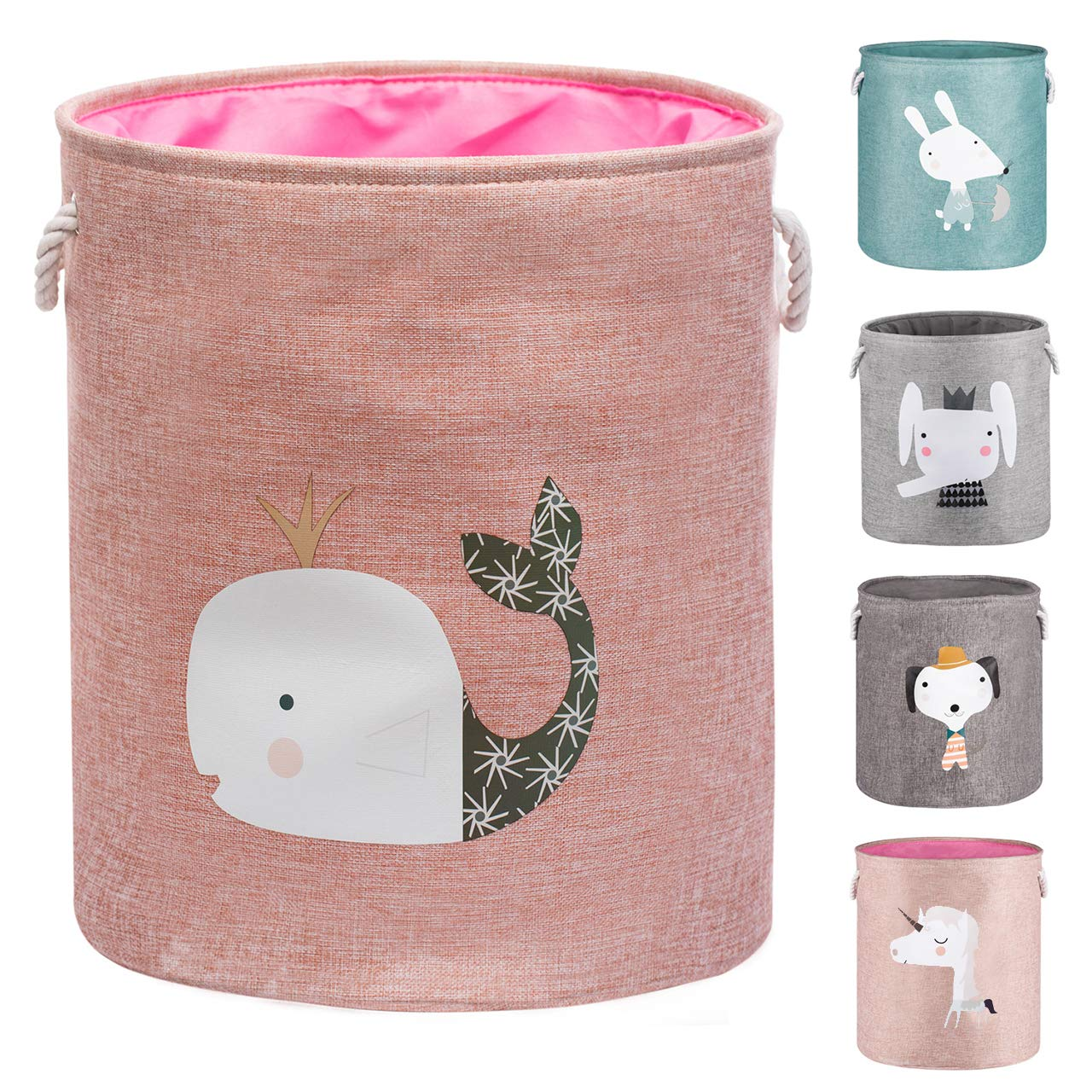 "AXHOP 22"" Upgrade Large Collapsible Laundry Basket with Lid, Toy Storage Baskets Bin for Kids, Dog, Toys, Blanket, Clothes, Cute Animal Laundry Hamper(Pink Whale)"