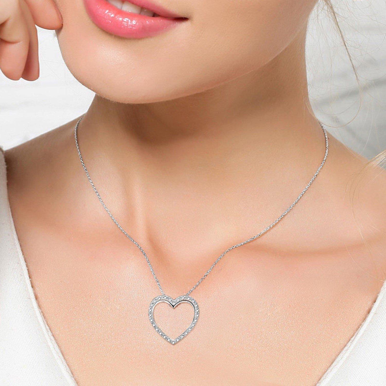 CS-DB Necklaces Exquisite Heart Pendants Silver Necklaces