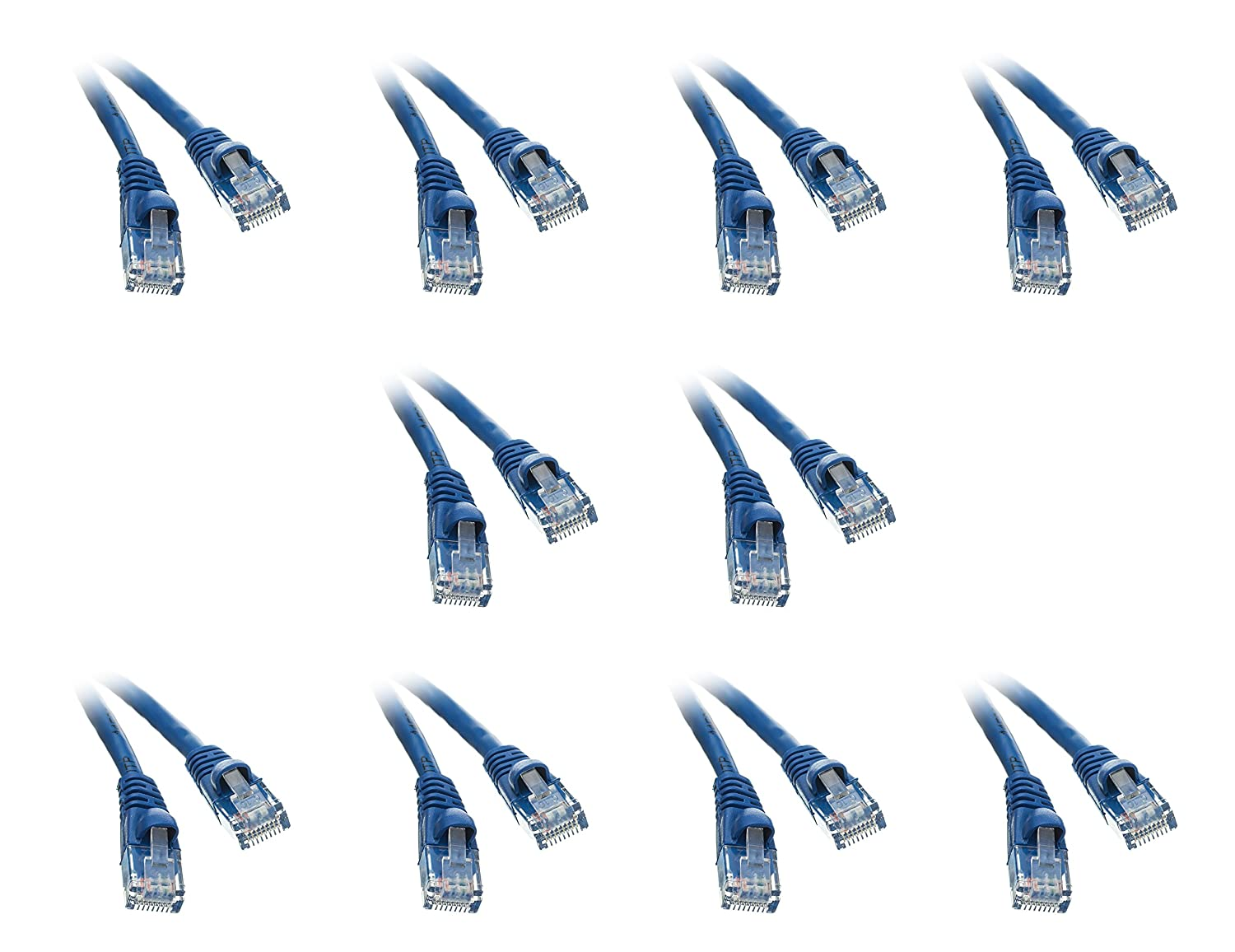 Ethernet Patch Cable 20 Pack Cat 5e 1.5 Feet Blue Snagless//Molded Boot CNE50291