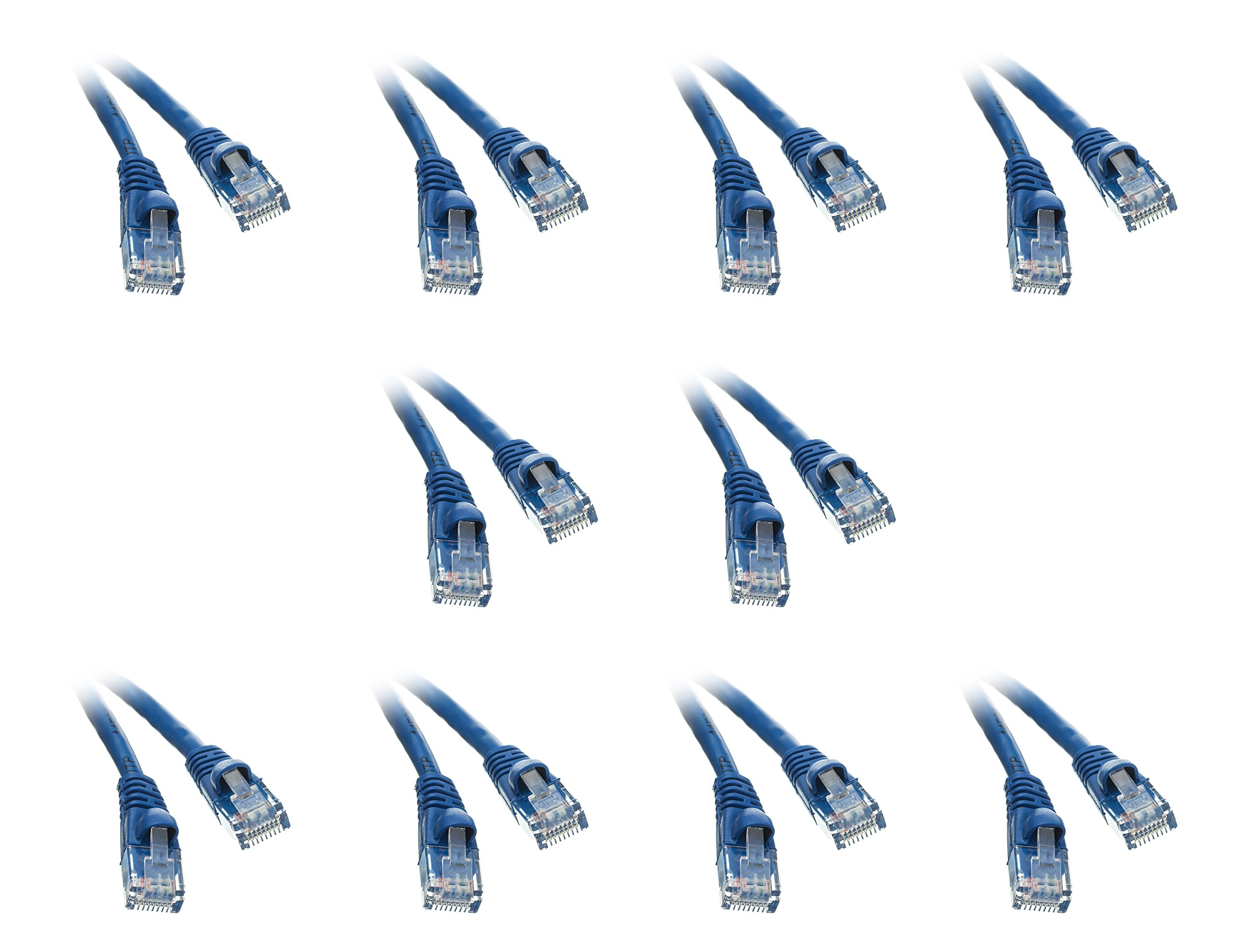Cat5e 35-Foot Ethernet Patch Cable, Snagless/Molded Boot, 10-Pack, Blue (CNE50826) by C&E