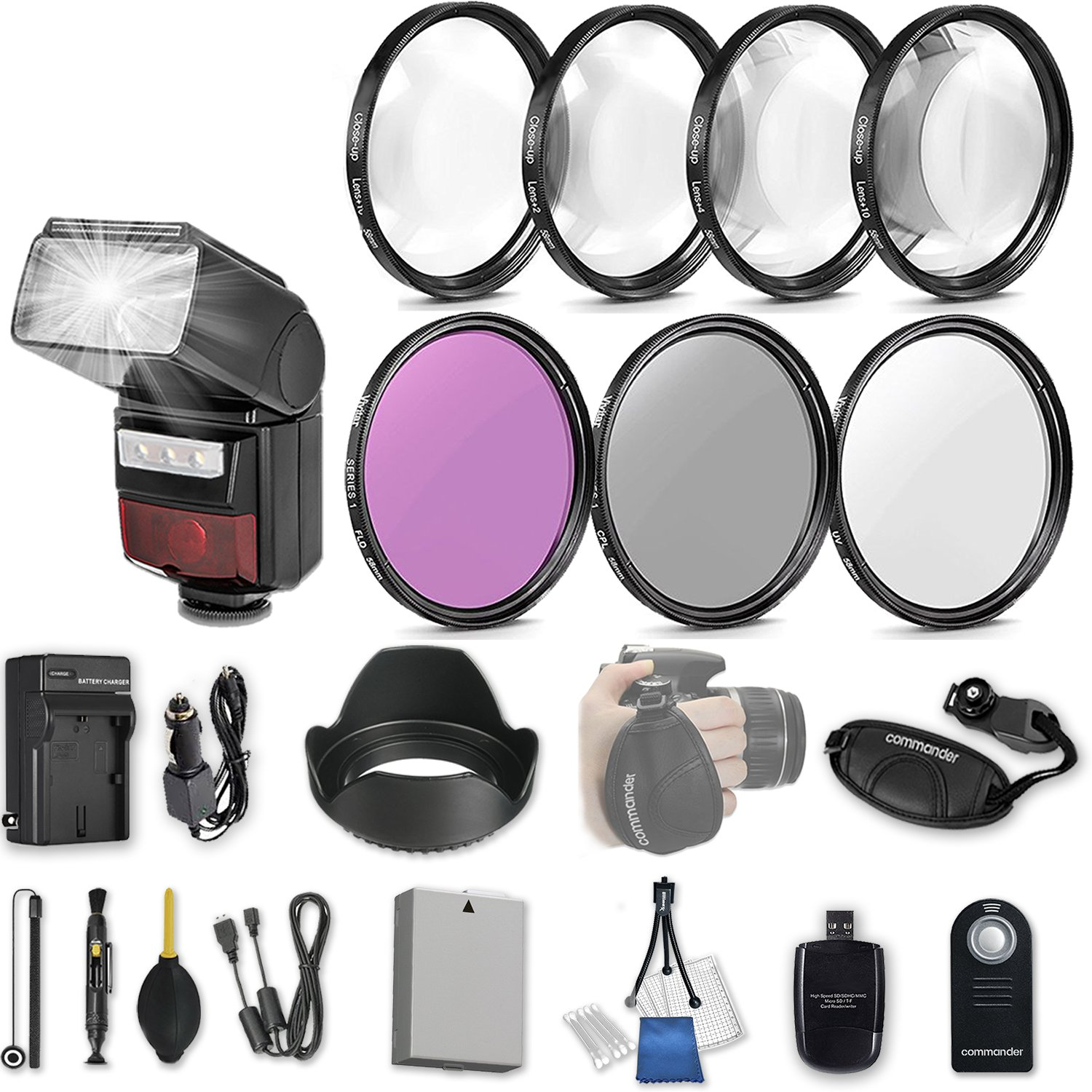 58mm 21 Pc Accessory Kit for Canon EOS Rebel T3i, T5i, 300D, 700D DSLRs with LED-Flash, UV CPL FLD Filters, & 4 Piece Macro Close-Up Set, Battery, and More by 33rd Street