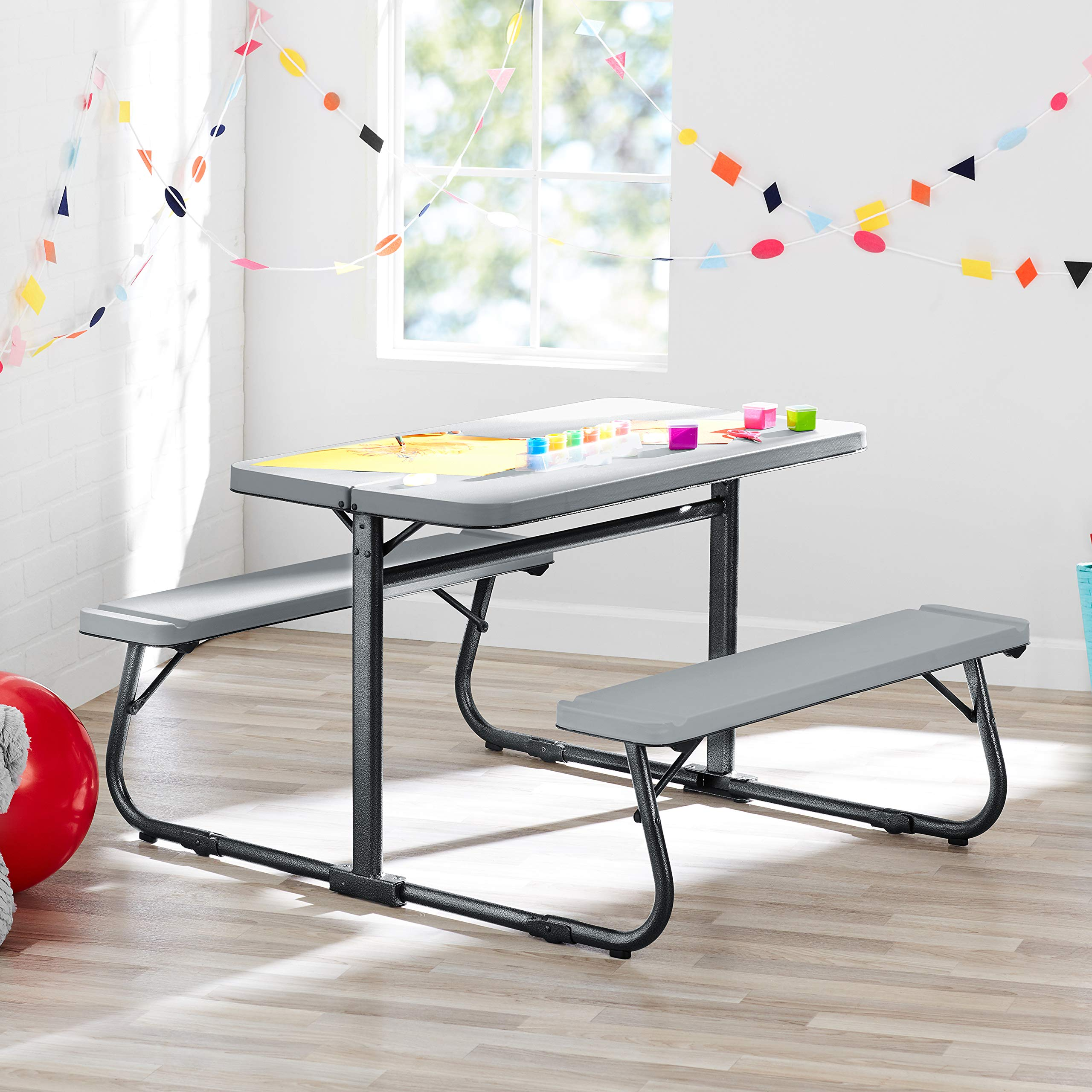 Innovative and Sturdy Your Zone Folding Kid's Activity Table with Two Benches,Soft Silver,Perfect for Homework,Arts and Grafts,Games,Wonderful Addition to Kid's Bedroom,Play/Activity Room,Classroom by YZone