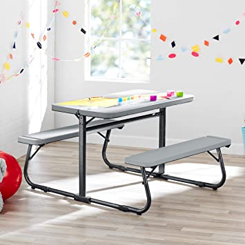 Enjoyable Innovative And Sturdy Your Zone Folding Kids Activity Table With Two Benches Soft Silver Perfect For Homework Arts And Grafts Games Wonderful Machost Co Dining Chair Design Ideas Machostcouk
