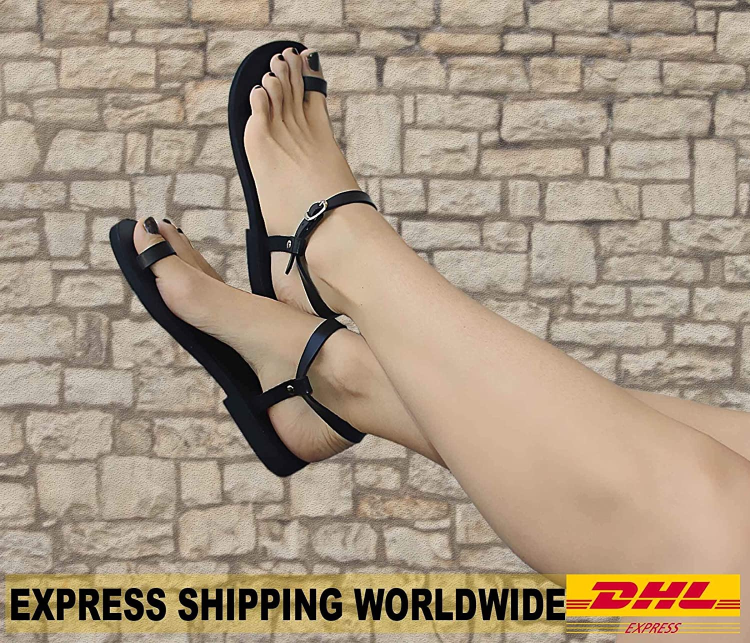 EXPEDITED SHIPPING Barefoot Sandals, Toe Ring Sandals, Leather Sandals, Ankle Strap Sandals, Black Gladiator Sandals - DREAM