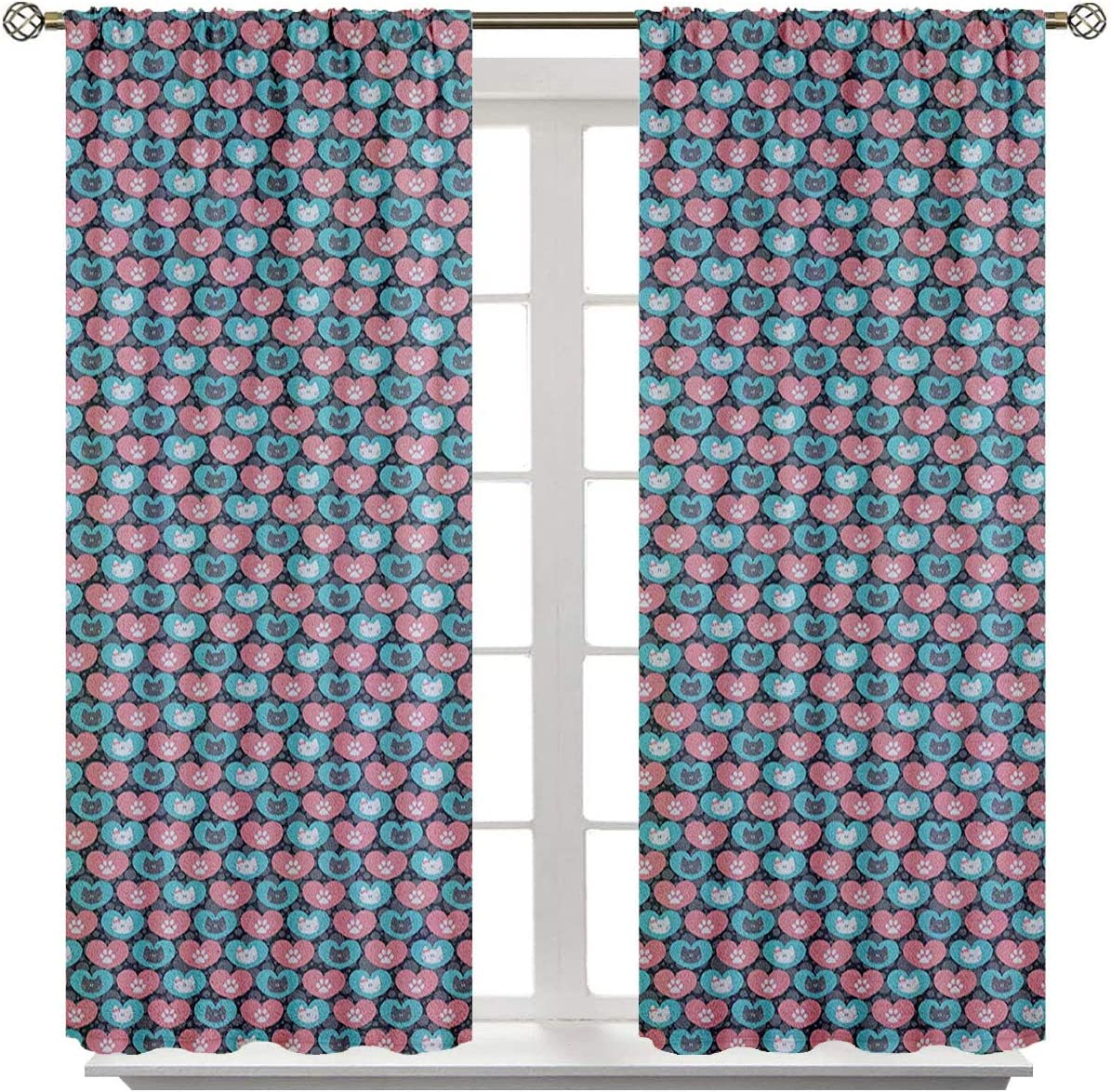 June Gissing Kids Curtains Cute Cat Portrait and Paws in Heart Figures Pets Love Animal Baby Thermal Insulated Blackout Curtains W96 x L108 Grey Pale Sea Green Pale Pink