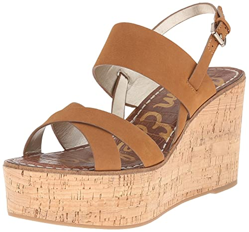 b820efc5081776 Sam Edelman Women s Destiny Greige Modern Ivory New Tumbled Leather Vaquero  Saddle Leather Wedge