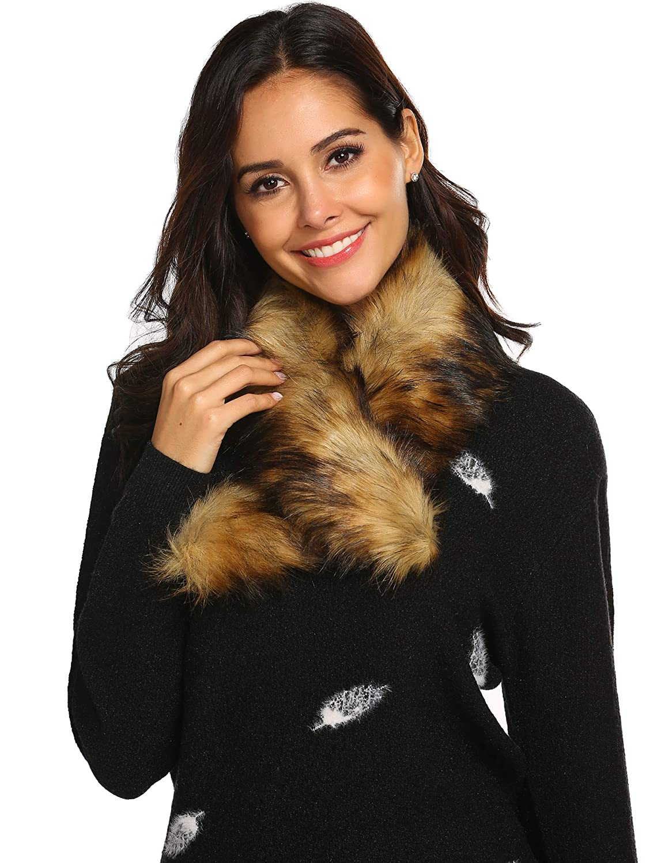 Brown Ladies Autumn Winter Explosions Fake Collar Scarf Artificial Warm Wraps
