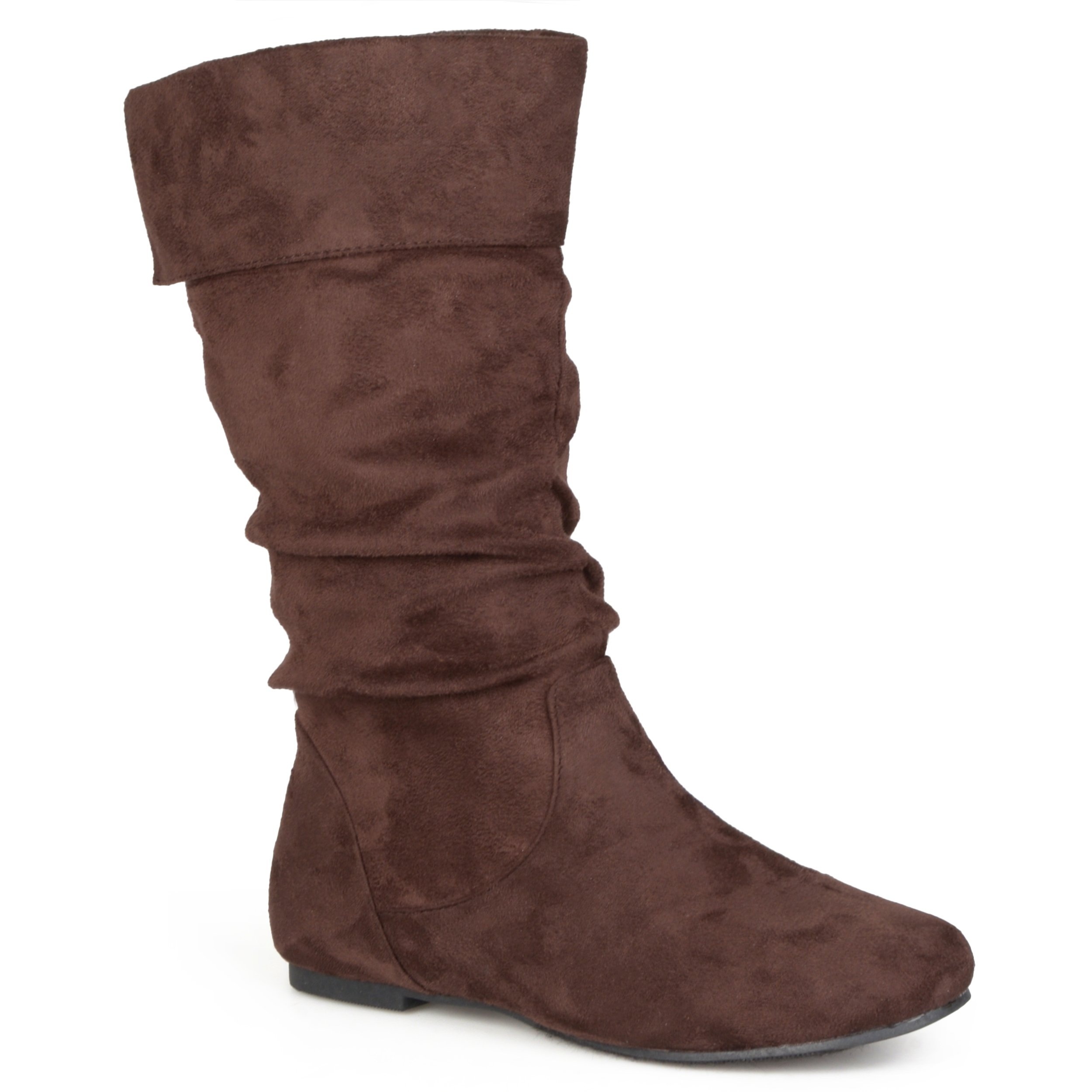 Journee Collection Womens Slouch Mid-Calf Microsuede Boots Brown, 8 Regular US