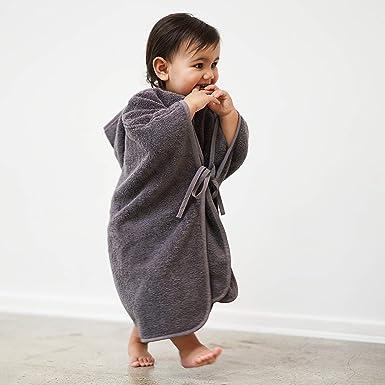 Mabyen Baby Poncho Peignoir Serviette de Bain avec Capuche 100/% Coton en Gris