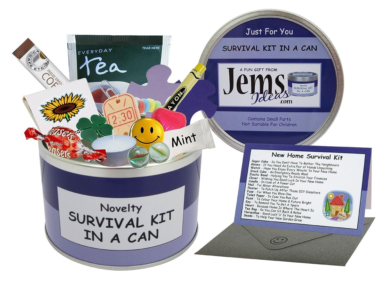 Jemsideas Kit de survie Survival Kit In A Can et carte de souhait pour nouvel appartement//maison Couleur du contenant personnalisable Noir//vert menthe