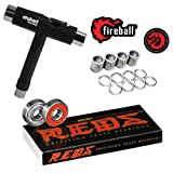 Bones Reds Bearings for [Skateboards, Longboards, Scooters, Spinners] (8 Pack (w/Dragon Spacers, Washers & Stoked Tool)) (Color: 8 Pack (w/ Dragon Spacers, Washers & Stoked Tool), Tamaño: One Size)