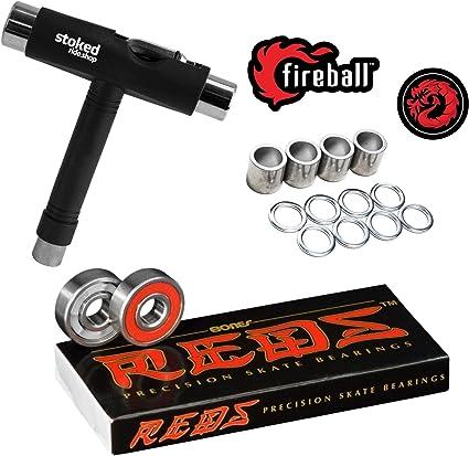 super smooth abec-9 8-Pack Reds Color Premium Skateboard Longboard Bearings
