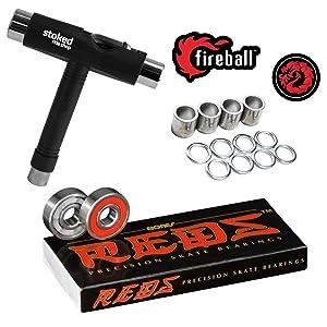 Bones Reds Skateboard Bearings 8-Pack [for Skateboards, Longboards, Scooters, Spinners]