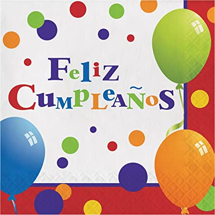 Amazon.com: Club Pack of 192 White and Red Feliz Cumpleanos ...