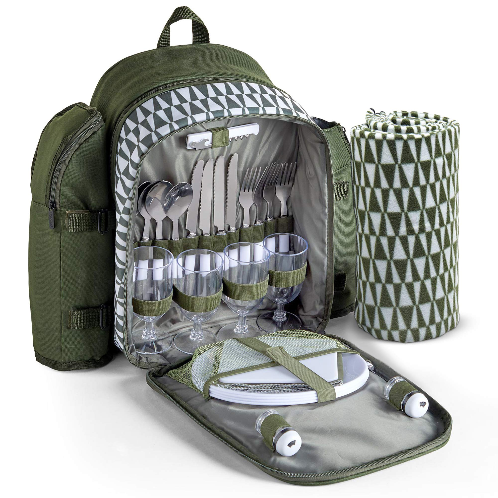 VonShef Picnic Backpack with Insulated Cooler Compartment - Green (4 Person) by VonShef