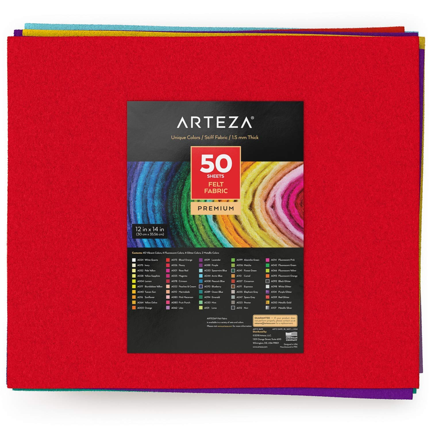 ARTEZA 50 Assorted Stiff Felt Fabric Sheets, 12''x14'' Squares, 1.5mm Thick for DIY Crafts, Sewing, Crafting Projects by ARTEZA (Image #4)