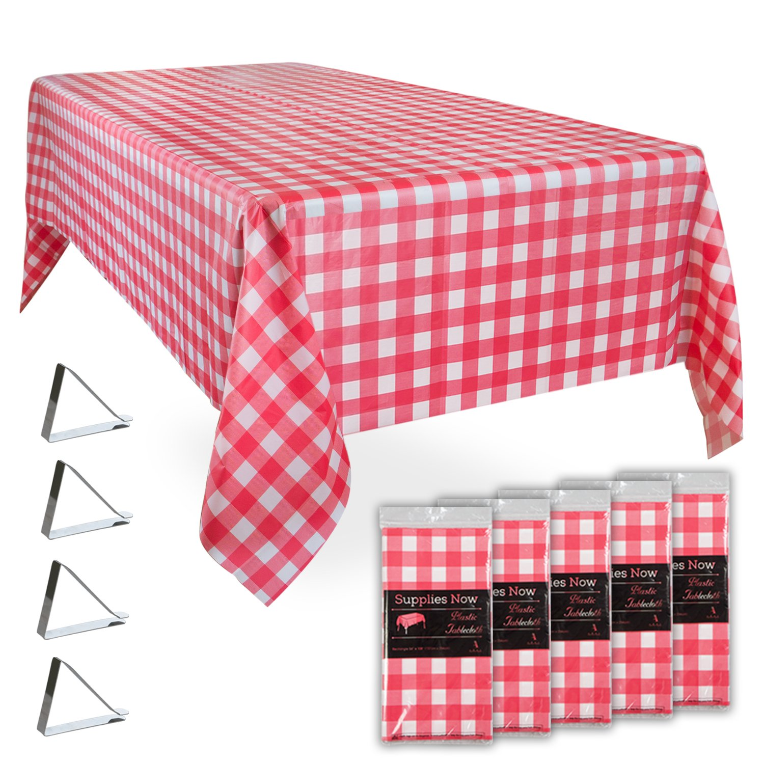 "Red and White Checkered 54"" x 108"" Disposable Plastic Tablecloths Set Includes 5 Gingham Plastic Table Covers and 20 Stainless Steel Clips (25 Pieces) by Supplies Now"