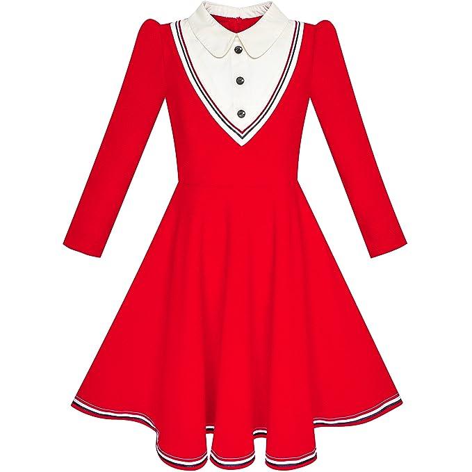 LP66 Sunny Fashion Vestido para niña Colegio Uniforme Blanco Collar rojo Largo Manga Rayado 10 años