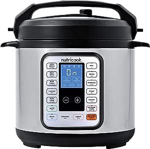 Nutricook Smart Pot by Nutribullet 1000 Watts - 9 in 1 Instant Programmable Electric Pressure Cooker, 6 Liters, 13 Smart Programs, Brushed Stainless Steel/Black, 2 Years Warranty