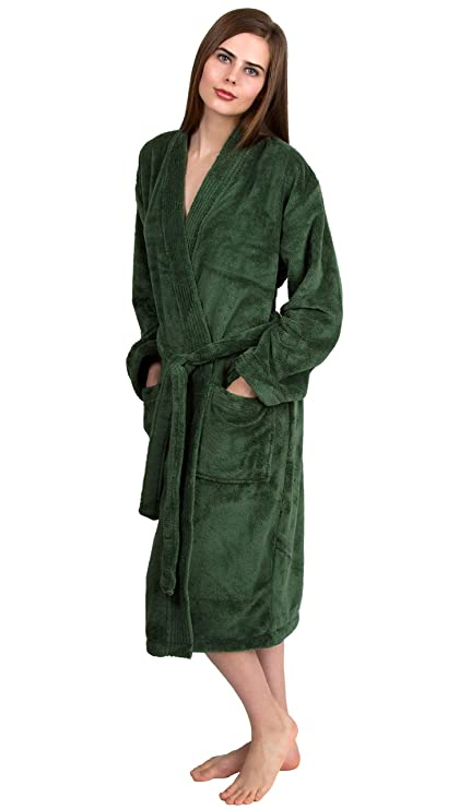 TowelSelections Women's Plush Robe Soft Fleece Kimono Bathrobe Large/X-Large Hunter Green