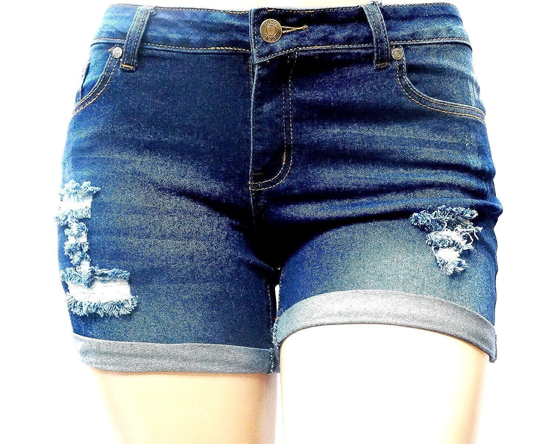 7e11d4ca7b1 1826 Women s Plus Size Destroy Short Stretch Distressed Ripped Blue Denim  Jeans at Amazon Women s Jeans store