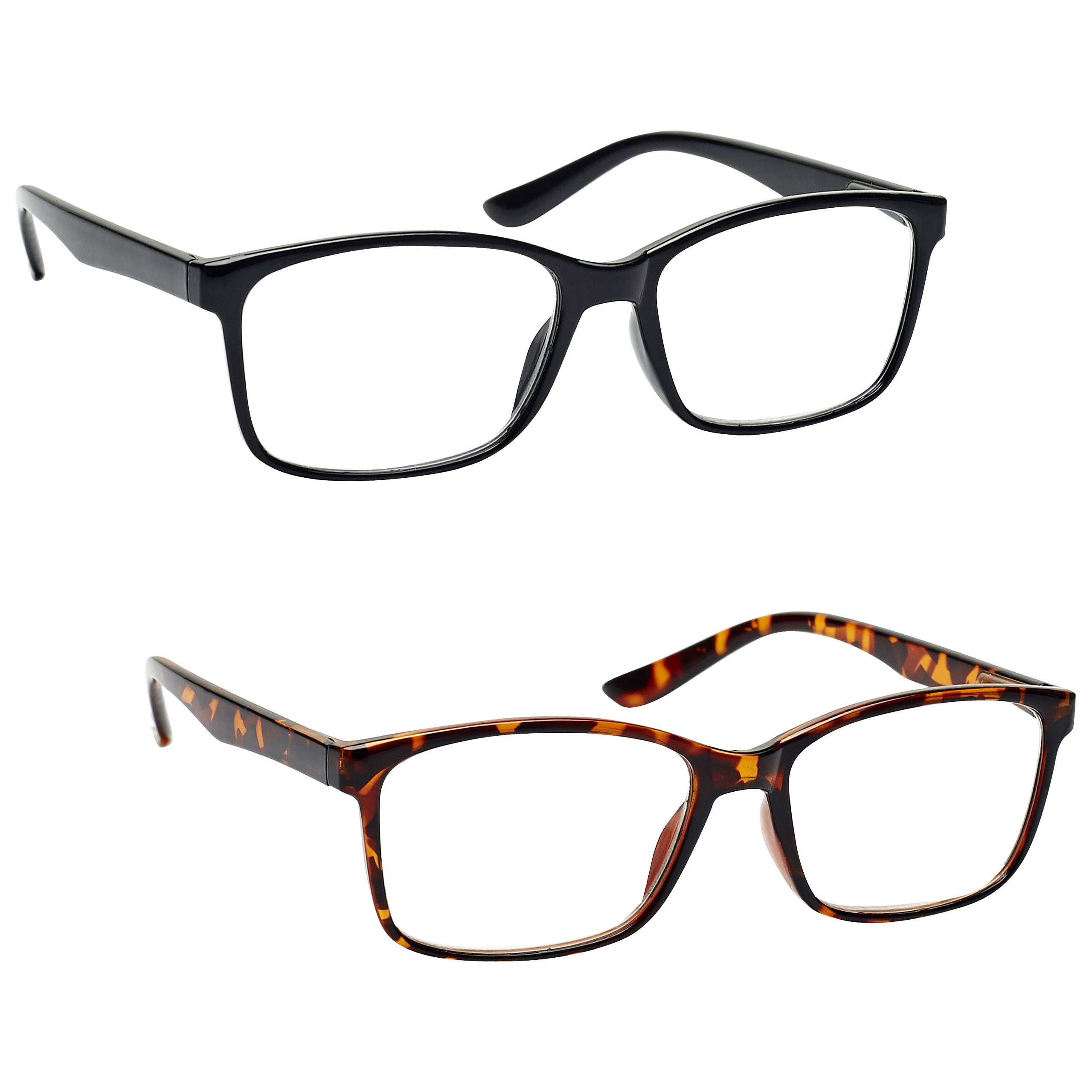 The Reading Glasses Company Black & Brown Tortoiseshell Readers Value 2 Pack Large Mens RR83-12 +1.50 by The Reading Glasses Company