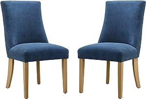 "Amazon Brand – Ravenna Home Lamberton Curved-Back Dining Chair, Set of 2, 19.5""W, Navy"