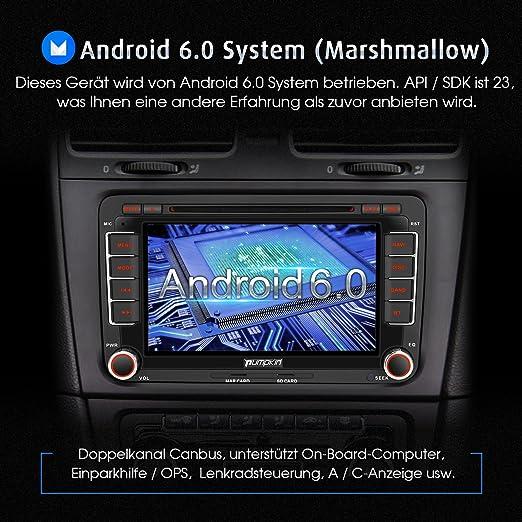 Pumpkin Android 6.0 Auto Radio Reproductor de DVD Moniceiver con navegación GPS para Volkswagen Golf Polo Jetta Passat admite Dab + Bluetooth WiFi 3 G OBD2 ...