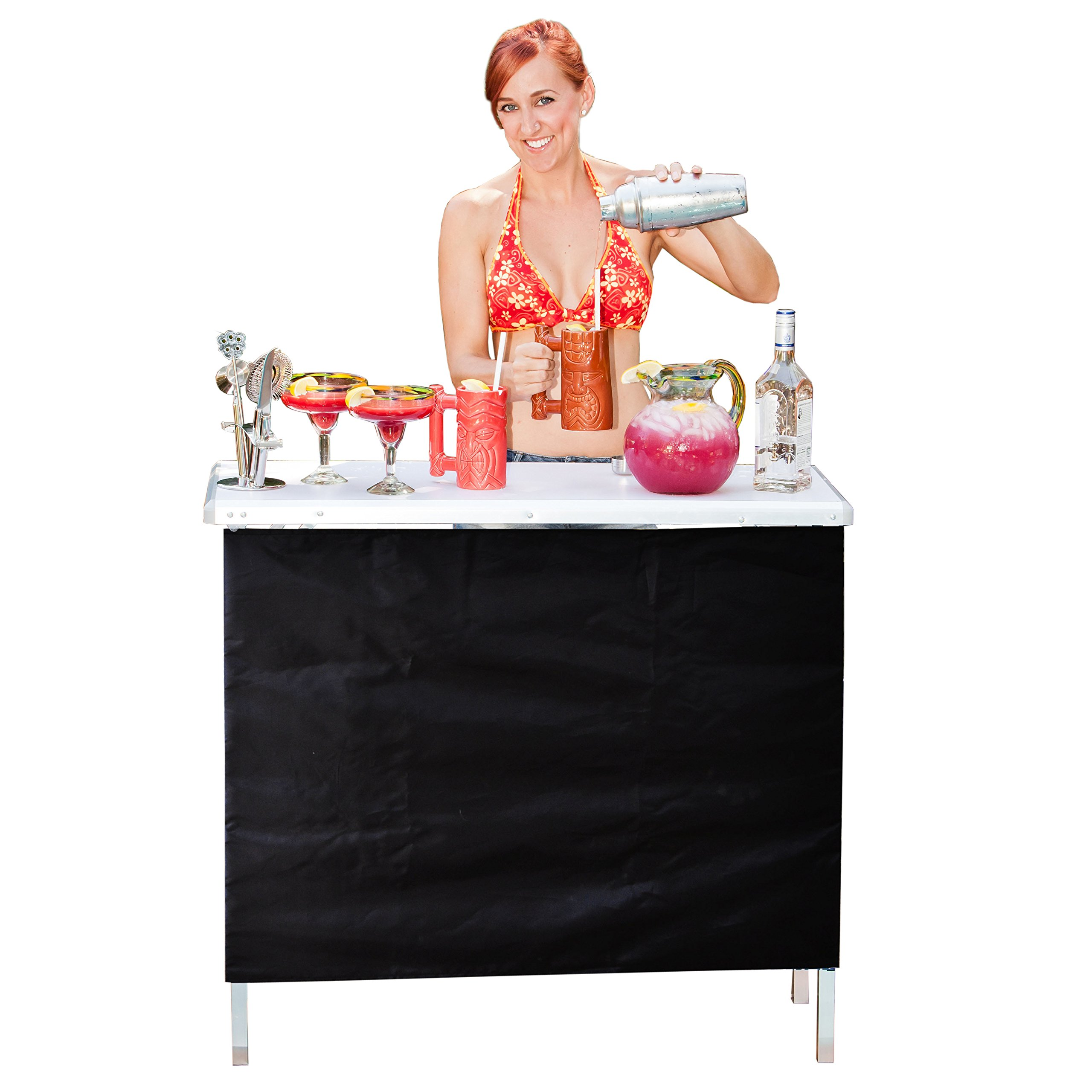GoPong Portable High Top Party Bar Table with Shelf - (15L x 39W x 36H) - Includes 3 Front Skirts and Carrying Case by GoPong